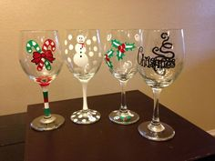 These are so cute for the holidays!   Christmas Wine Glasses on Etsy, $45.00