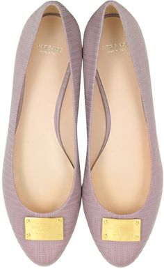 Versace Mauve Leather Ballerina Shoe in Pink (Mauve) | Lyst