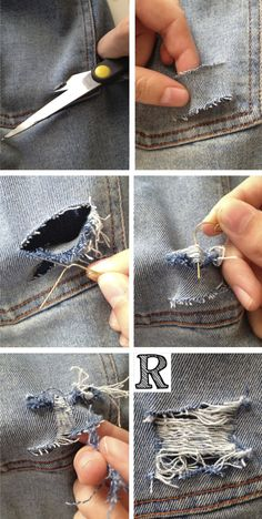 DIY ripping jeans torn denim DIY ripping jeans torn denim The post DIY ripping jeans torn denim appeared first on Denim Diy. Torn Jeans, Ripped Denim, Diy Clothing, Custom Clothes, Diy Distressed Jeans, Distressed Jean Jacket, Jean Diy, Diy Jeans, Diy Ripped Jeans Tutorial