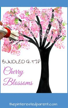 Easy Bundled Q-tip stamped spring Cherry blossom tree paintings. Check out our trees for every season. Winter, spring, summer and fall arts and craft project for kids. Make cherry blossoms or beautiful autumn leaves. Great for toddlers or preschoolers Arts And Crafts Movement, Fall Arts And Crafts, Spring Crafts For Kids, Craft Projects For Kids, Arts And Crafts Projects, Kids Crafts, Spring Crafts For Preschoolers, Art For Toddlers, Spring Activities