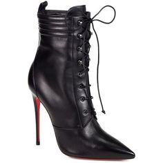 Christian Louboutin Mado Leather Lace-Up Ankle Boots ($1,595) ❤ liked on Polyvore featuring shoes, boots, ankle booties, christian louboutin, heels, louboutin, black, black leather bootie, black booties and black lace up boots