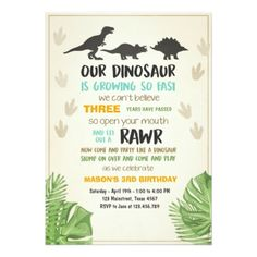 Dinosaur Birthday Party Invitation | Order your personalized birthday invitations at Boardman Printing. Visit, https://www.facebook.com/BoardmanPrinting/