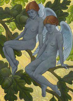 Guardian Angels, Pop Surrealism, Surreal Art, Contemporary Paintings, Art Day, Lovers Art, Acrylics, Bacon, Original Art