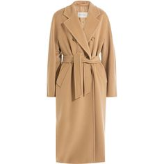 Max Mara Virgin Wool Belted Coat ($2,080) ❤ liked on Polyvore featuring outerwear, coats, camel, belt coat, maxmara coat, slim coat, coat with belt and fur-lined coats