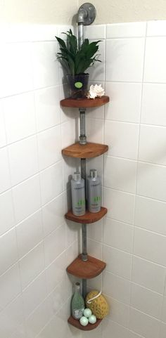 This Shower shelf holds all of your favorite bathroom products with ease. This features Fijian mahogany shelves that are ideal for shower use. The shelves will swing out of the way for cleaning the shower corner but remember to remove your bath products first ;-) The pipe support column can be left galvanized or powder-coated in a selection of heavy duty colors. Each shelf on this unit is made from fijian mahogany that is responsibly sourced. The shelves are then oiled with teak oil. The…