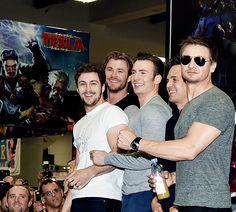 avengers, bromance, captain america, chris evans, chris hemsworth, happy, hawkeye, hot, hug, hulk, jeremy renner, laugh, mark ruffalo, marvel, quicksilver, sexy, smile, thor, aaron taylor johnson