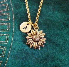 Sunflower Necklace SMALL Sunflower Jewelry Personalized Jewelry Flower Girl Necklace Sunflower Charm Necklace Flower Necklace Flower Jewelry - July 27 2019 at 14k Gold Necklace, Diamond Solitaire Necklace, Diamond Pendant Necklace, Diamond Necklaces, Gold Pendant, Necklace Set, Diamond Jewelry, Necklace Tattoo, Diamond Bar