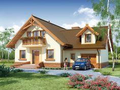 DOM.PL™ - Projekt domu DA Gracjan CE - DOM DS1-01 - gotowy koszt budowy 2bhk House Plan, Model House Plan, Beautiful House Plans, Beautiful Homes, Küchen Design, Design Case, House In The Woods, Simple House, Exterior Colors