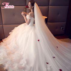 워드 어깨 웨딩 대형 미행 한국 패션 깃털 V 넥 2017 봄 새로운 긴 꼬리 웨딩 드레스