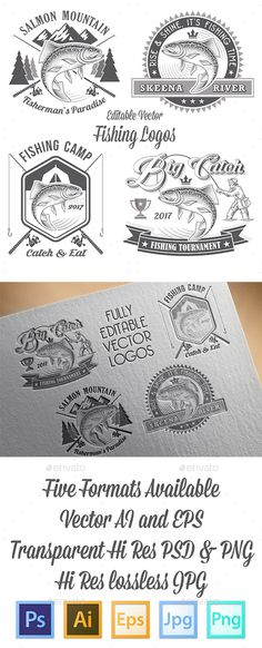 Vector Editable Fishing Logos by Pingebat Set of 4 vector high Quality Labels for Fishing Logos and Insignias in vintage style. Every Logo is presented in 5 formats: EPS