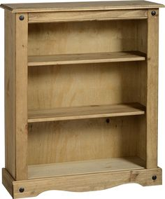 CORONA Low Wide Bookcase With 3 Shelves - Waxed Mexican Pine for sale online Low Wide Bookcase, Pine Bookcase, Small Bookcase, Bookshelves, Display Shelves, Storage Shelves, Book Storage, Home Decor Furniture, Living Room Furniture
