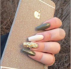 Army Green nail polish with gold on ring finger. Army Green nail polish with gold on ring finger. Army Green nail polish with gold on ring finger. Green Nail Designs, Gel Nail Art Designs, Nails Design, Toe Designs, Trendy Nails, Cute Nails, Olive Nails, Green Nail Polish, Acrylic Nails Green