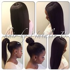 middle part sew in ponytail - Google Search