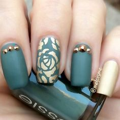 """""""Feeling this color combo for late winter. Jewel tones are some of our favs and the matte and gold looks divine! What are your favorite nail color combos…"""""""