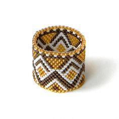 Wide Band Ring - Beaded Ring - Beadwork Peyote Ring - Gold, Dark Bronze and White