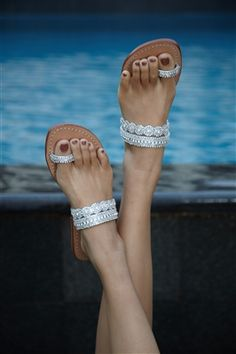 Toe Loop Sandals – these would be beautiful for a beach wedding or garden summer night wedding Toe Loop Sandals, Beaded Sandals, Silver Sandals, Silver Shoes, Flip Flop Sandals, Leather Sandals, Shoes Sandals, Heels, Flats