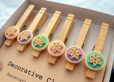 Decorative Clothespins Paper Quilled Pastel di WillawayDesigns, $13.50