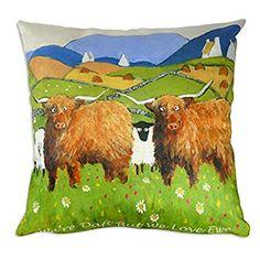 'We're Daft But We Love Ewe' Funny Sheep Cushion Gift by Thomas Joseph