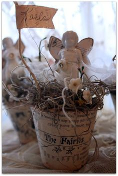 Peat Pots With Fairies Shabby Chic Crafts, Vintage Crafts, Easter Crafts, Christmas Crafts, Decoupage, Clay Pots, Spring Crafts, Altered Art, Paper Dolls