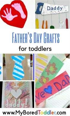 If you are looking for activities and crafts for your baby or toddler for father's day you'll love this collection of 18 great Father's Day crafts - simple enough for your toddler to make. From My Bored Toddler www. Toddler Fun, Toddler Preschool, Toddler Crafts, Preschool Crafts, Kids Crafts, Classroom Crafts, Classroom Activities, Easy Fathers Day Craft, Fathers Day Cards