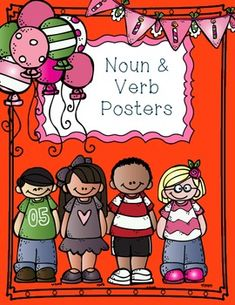 "Free & ADORABLE Noun & Verb Posters!!  ....Follow for Free ""too-neat-not-to-keep"" teaching tools & other fun stuff :)"