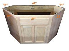 Diagonal Corner Sink Base 42 Oak Cabinet KITCHEN | CABINETS | FINISHED |  Oak Cabinets