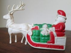 Vintage Celluloid Santa in Sleigh with attached Deer - 1930s 1940s toy Christmas Decoration by dandelionvintage on Etsy, $75.00
