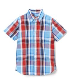 Red & Blue Plaid Short-Sleeve Button-Up - Toddler & Boys