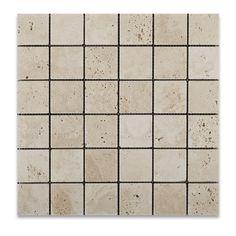 2 X 2 Ivory Travertine Tumbled Mosaic Tile