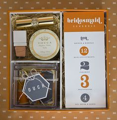 "Bridesmaid's-itinerary, The little ""Ouch"" kit contains lip balm, sewing supplies, hairpins, nail scissors, polish remover, bandages, and tissues, lipstick, perfume etc."