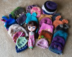 https://flic.kr/p/p45sGr | 43/365 Some of Pudding's favorite hats! | I love hats! I feel so lucky to have all these (and more) wonderful creations by so many amazingly talented people!  Each one is unique and special, just like all the dollies and people I've met through this hobby. ♥  And of course, Pudding loves to wear the hats and always wants more! Maybe someday, we'll be able to get the whole collection spread out on the floor! ;)