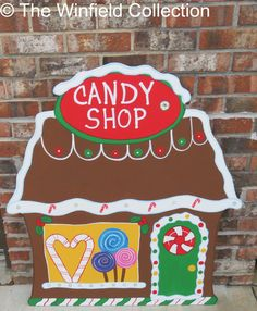 Christmas Gingerbread Candy Shop Wood Outdoor Yard Art, Lawn Decoration, Christmas Decor, Christmas Village, Christmas Candy Shop