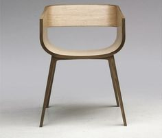 Steam bent plywood and solid oak chair by aileen