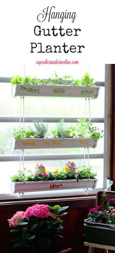 Hanging gutter planters are so easy to make and inexpensive.  Fill them with flowers, herbs or veggies and hang them on a porch, in a sunroom, a fence, or even a blank wall to add color and charm.
