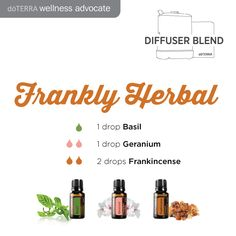Frankly Herbal Essential Oil Diffuser Blend 1 drop Basil 1 drop Geranium 2 drops Frankincense