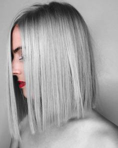 lob, long bob, died length hair, silver hair, straight cut bob, one length hair, blunt bob, 2018 hair inspiration, 2018 hair trends
