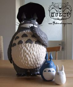 Totoro.  Based on the Character Totoro from the studio Ghibli movie My Neighbour Totoro.  Sculpted in air dry clay.