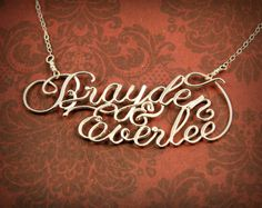 Two Name Necklace Wire Name Necklace Sterling by SilverTrove