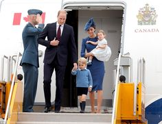 The Duke and Duchess of Cambridge landed in Canada with their two children, Prince George and Princess Charlotte - but George seemed a little frazzled after the ten-hour flight