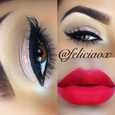 Red lips and soft pink eyeshadow