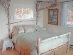 Rustic, lighted, birch headboard and footboard