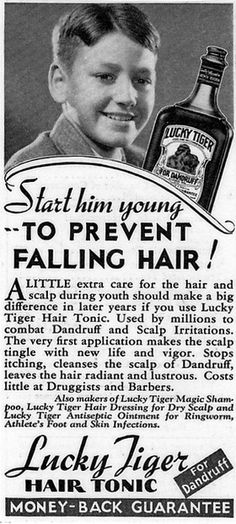 """Lucky Tiger Hair Tonic - """"Start him young to prevent falling hair!"""" (1955) #barber #vintageads www.OneMorePress.com"""