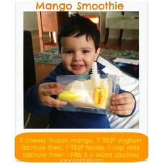 Mango Smoothie #mango #lactosefree #yoghurt #honey #milk #sinchies #reusablepouches #reusablefoodpouch #squeezypouch #breakfast #dessert #kids #children #toddlers #lunchboxes #reusable #recyclable #sustainable #healthy #additivefree #preservativefree #nonumbers #nocolors #homemade #bpafree #nowaste #nudefood