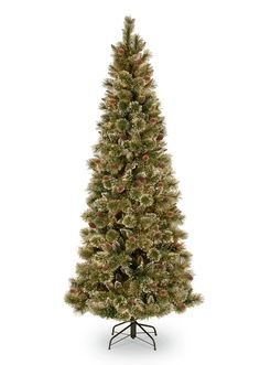 010effcec71da National Tree Company Glittery Bristle Slim Pine Hinged Christmas Tree with  White Tipped Cones and 500 Clear Lights Home - All Holiday Lane - Macy s