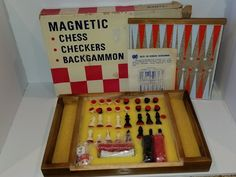 Vintage Dante Magnetic Travel Chess, checkers and Backgammon NEW and Complete #Dante