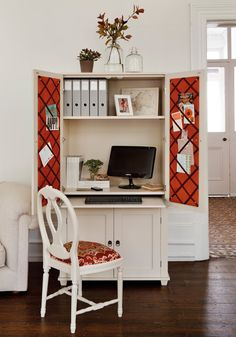 Want to hide away a home office in your living room? This unit is big enough for a screen and keyboard, plus lots of storage. Doors closed, it looks like a smart cabinet. Find it at www.thedormyhouse.com #storage