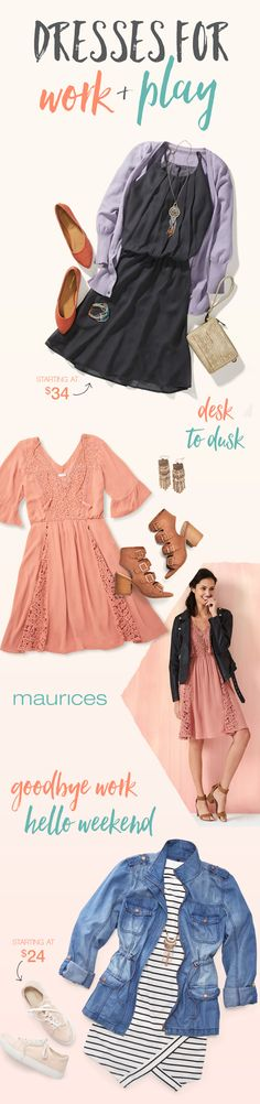 Go from desk to dusk with perfect dresses for work and play. Plus, say hello to free shipping when you pick up in store or on orders $50 or more and free returns to any of our 1,000 stores.