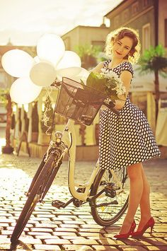 Retro Cycle Chic by Agnieszka Werecha www.TiAmoFoto.etsy.com     bicycle     bike     baloons     smile     girl     woman     sunset     high     heels     red     lips     polka     dot     dress     flowers     basket     city     street     photography     portrait     lifestyle