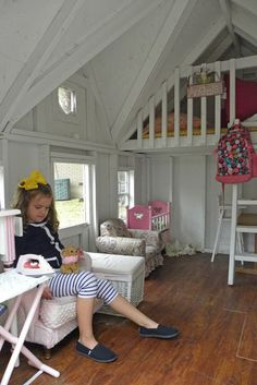 this is same playhouse girls have painted white inside...love!  Will do this and add chalkboard and pinboard to a wall of panels for an art gallery