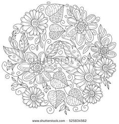 Vector pattern for coloring book. Ethnic retro design in zentangle style with floral elements,Black line art on white background.